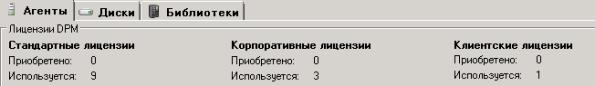 Скриншот с Eval версии DPM 2010 - счетчики лицензий